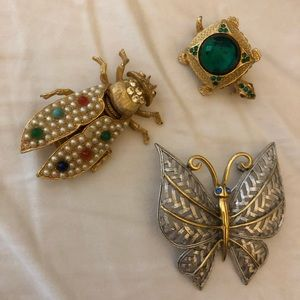 Set of 3 vintage pins-turtle, butterfly, cockroach